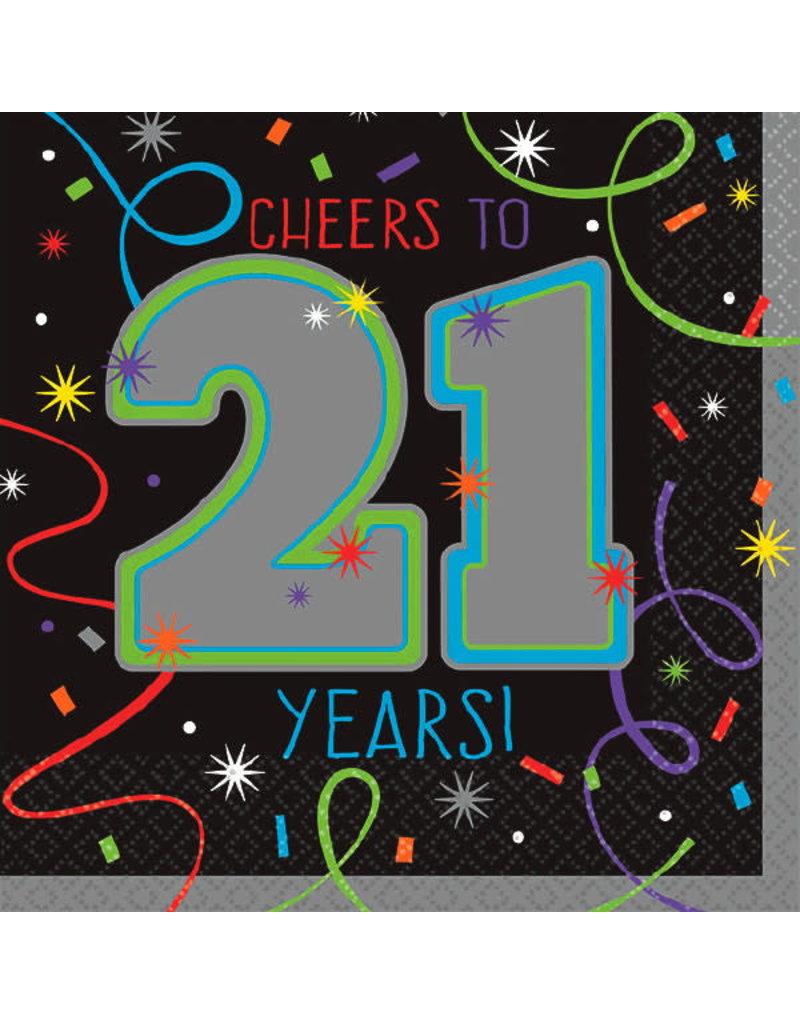 "Beverage Napkins - ""Cheers to 21 Years"" (16ct.)"