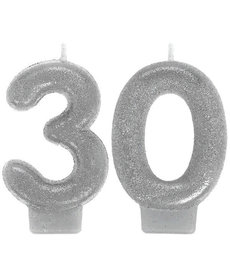 Silver Sparkling Birthday Candles - 30th
