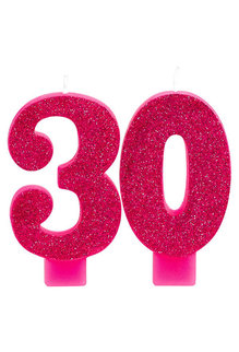 Pink Glitter Candle - 30th