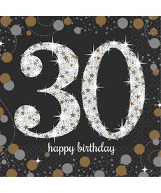 Sparkling Celebration Beverage Napkins - 30th Birthday