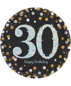 """9"""" Plates: Sparkling Celebration - 30th Birthday"""