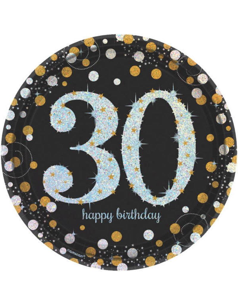 "9"" Plates: Sparkling Celebration - 30th Birthday (8ct.)"