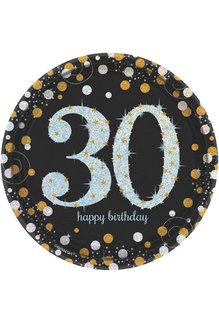 "7"" Plates: Sparkling Celebration - 30th Birthday (8ct.)"