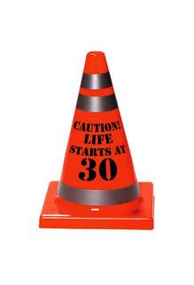 "30th Birthday Cone ""Caution! Life Starts At 30"""