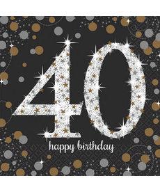 Luncheon Napkins: Sparkling Celebration - 40th Birthday