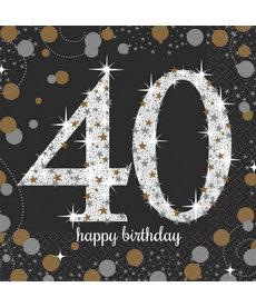 Sparkling Celebration Beverage Napkins - 40th Birthday