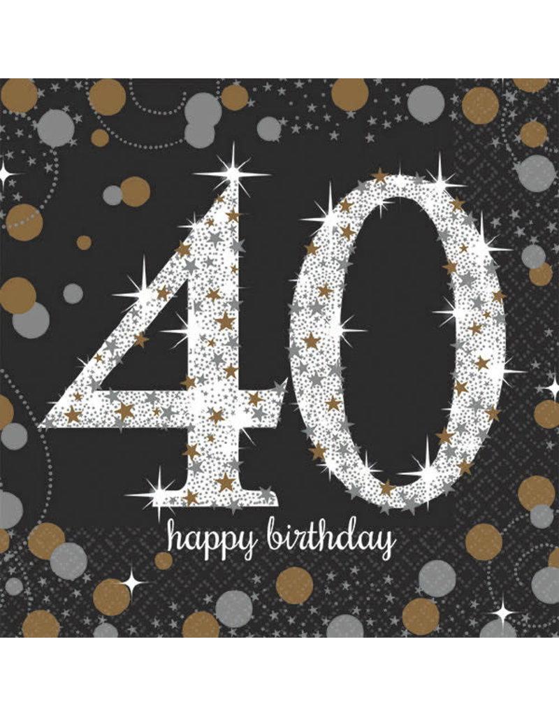 Beverage Napkins - 40th Sparkling Celebration (16ct.)