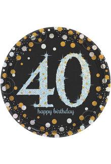 "9"" Plates: Sparkling Celebration - 40th Birthday (8ct.)"
