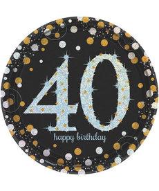 """9"""" Plates: Sparkling Celebration - 40th Birthday"""
