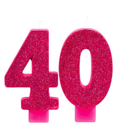 Pink Glitter Candle - 40th