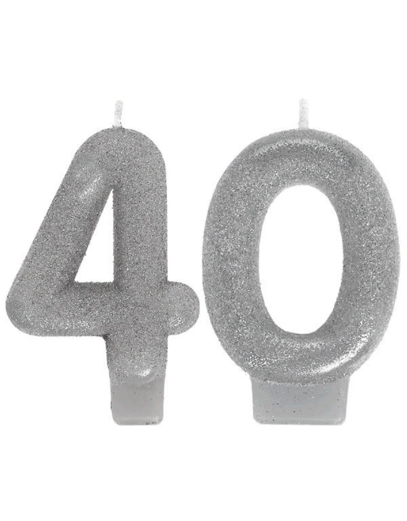 Silver Sparkling Birthday Candles - 40th