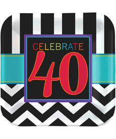 "9"" Square Plates - 40th Celebration (8ct.)"