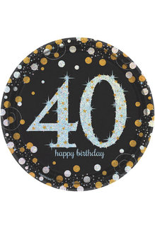 "7"" Plates: Sparkling Celebration - 40th Happy Birthday (8ct.)"