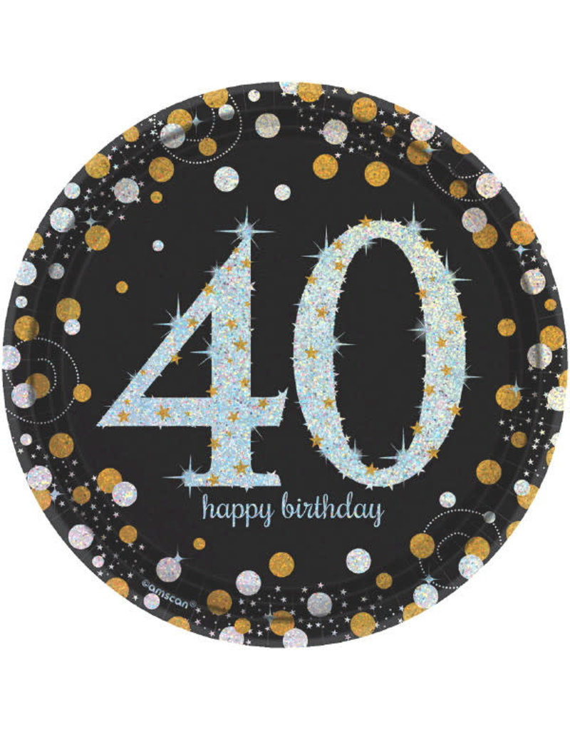 """7"""" Plates: Sparkling Celebration - 40th Birthday"""