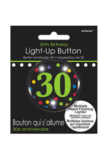 Light Up Button - 30th Birthday