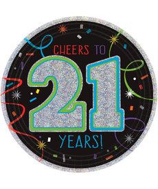 "7"" Happy Birthday Plates - ""Cheers to 21 Years!"" (8ct.)"