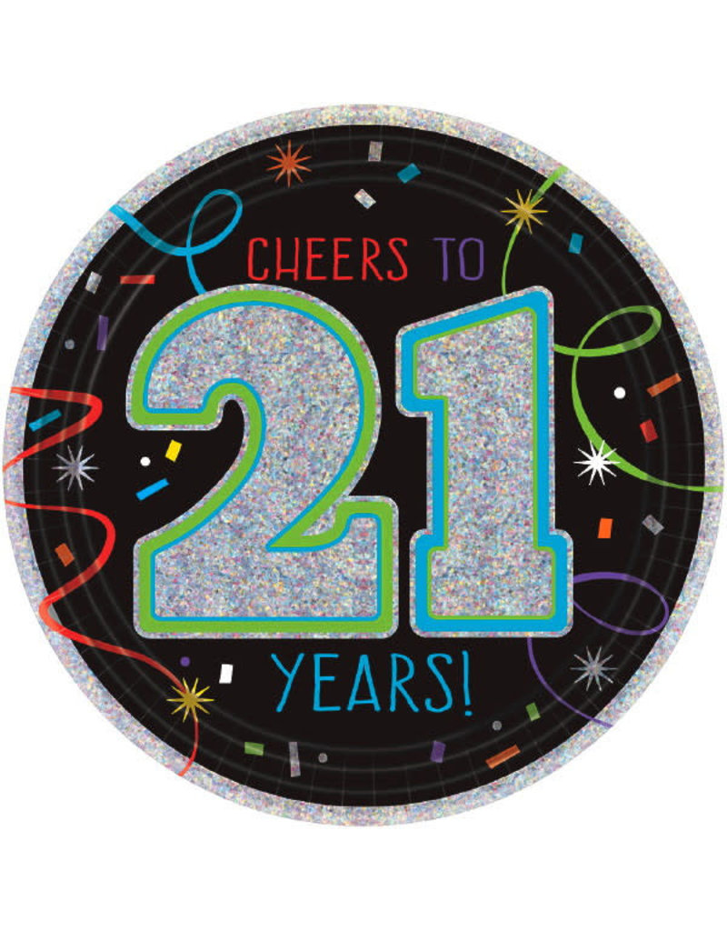 """7"""" Plates - """"Cheers to 21 Years!"""" (8ct.)"""