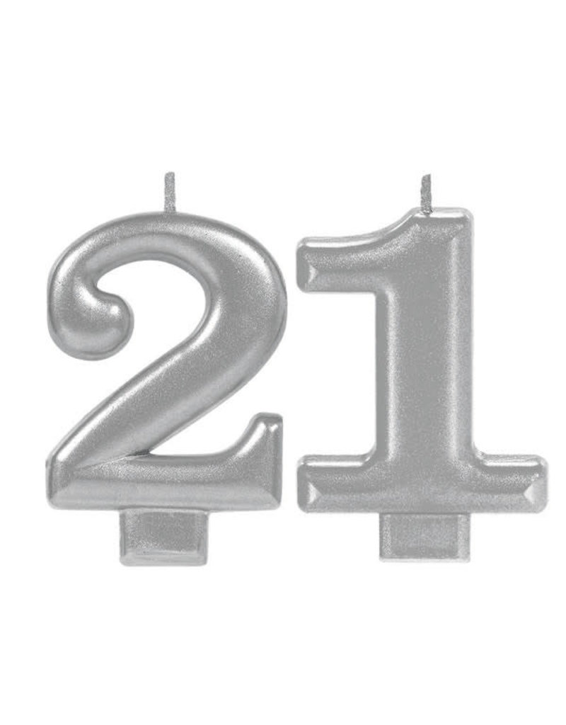 Silver Sparkling Birthday Candles - 21st