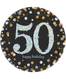 "9"" Plates:  Sparkling Celebration - 50th Birthday"