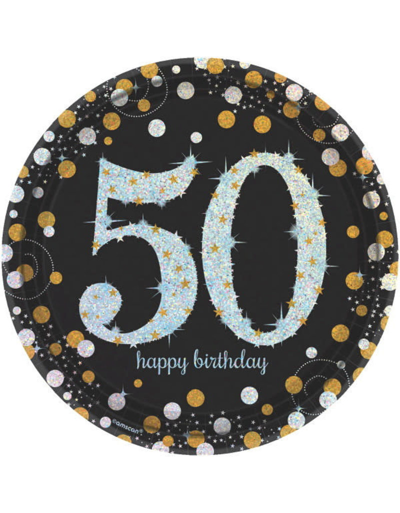 "9"" Plates:  Sparkling Celebration - 50th Birthday (8ct.)"