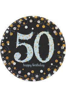 "7"" Plates: Sparkling Celebration - 50th Birthday (8ct.)"
