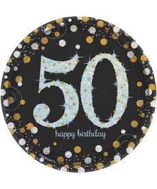 "7"" Plates: Sparkling Celebration - 50th Birthday"