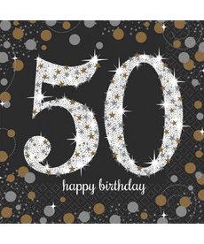 Luncheon Napkins: Sparkling Celebration - 50th Birthday