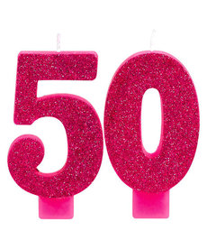 Pink Glitter Candle - 50th
