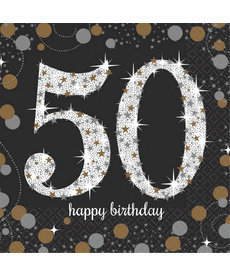 Beverage Napkins: Sparkling Celebration - 50th Birthday