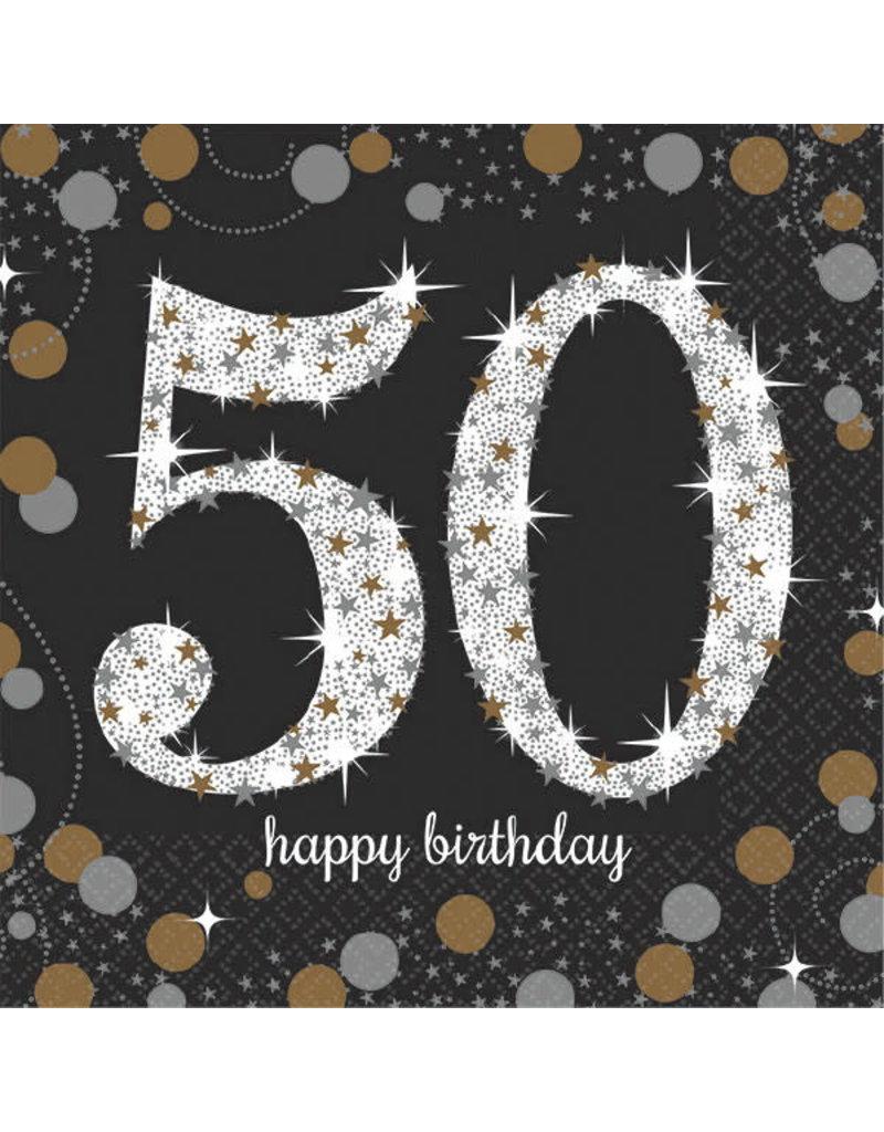 Beverage Napkins: Sparkling Celebration - 50th Birthday
