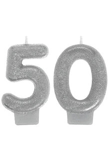 Silver Sparkling Birthday Candles - 50th