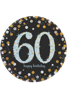 "7"" Plates: Sparkling Celebration - 60th Birthday (8ct.)"