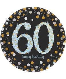 """9"""" Plates: Sparkling Celebration - 60th Birthday"""