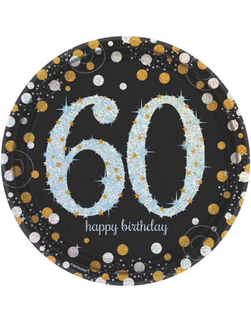 "9"" Plates: Sparkling Celebration - 60th Birthday (8ct.)"