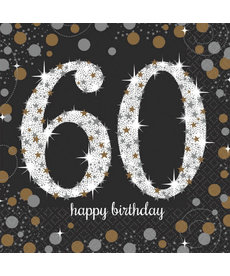 Luncheon Napkins: Sparkling Celebration - 60th Birthday