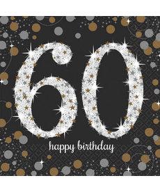 Luncheon Napkins: Sparkling Celebration - 60th Birthday