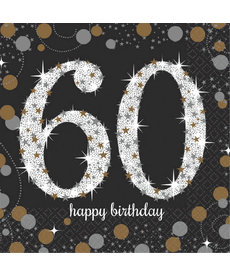 Beverage Napkins: Sparkling Celebration - 60th Birthday