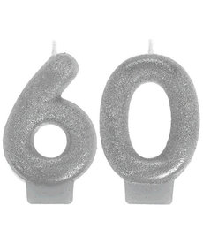Silver Sparkling Birthday Candles - 60th