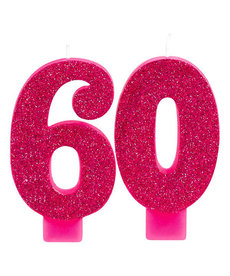 Pink Glitter Candle - 60th