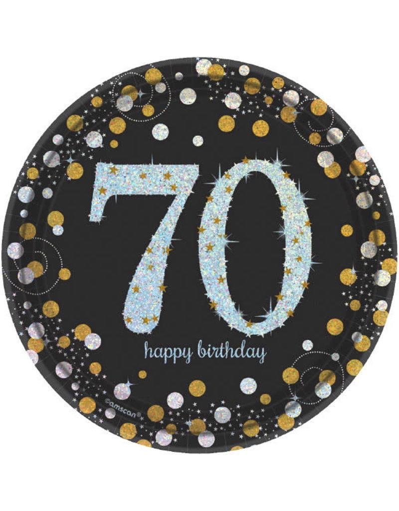 "7"" Plates: Sparkling Celebration - 70th Birthday (8ct.)"