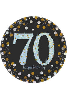 "9"" Plates: Sparkling Celebration - 70th Birthday (8ct.)"
