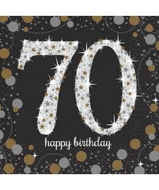 Beverage Napkins: Sparkling Celebration - 70th Birthday