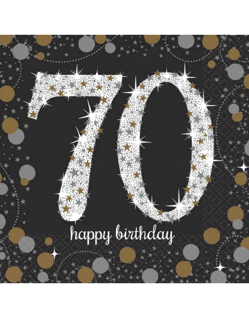Beverage Napkins: Sparkling Celebration - 70th Birthday