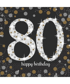 Luncheon Napkins:  Sparkling Napkins - 80th Birthday