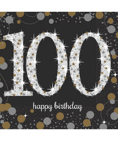 Sparkling Celebration Beverage Napkins - 100th Birthday