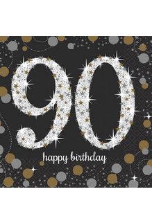 Beverage Napkins: Sparkling Celebration - 90th Birthday
