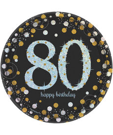"7"" Plates: Sparkling Celebration - 80th Birthday"
