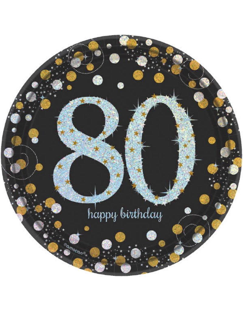 "7"" Plates: Sparkling Celebration - 80th Birthday (8ct.)"