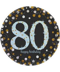 """9"""" Plates: Sparkling Celebration - 80th Birthday"""