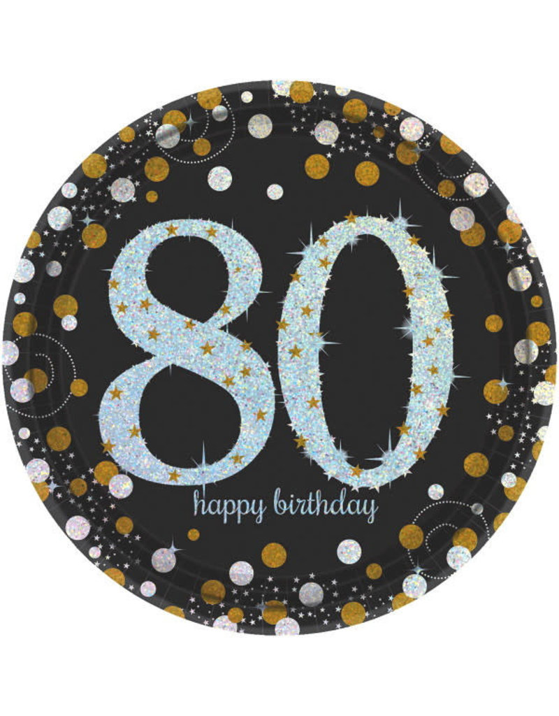 "9"" Plates: Sparkling Celebration - 80th Birthday (8ct.)"